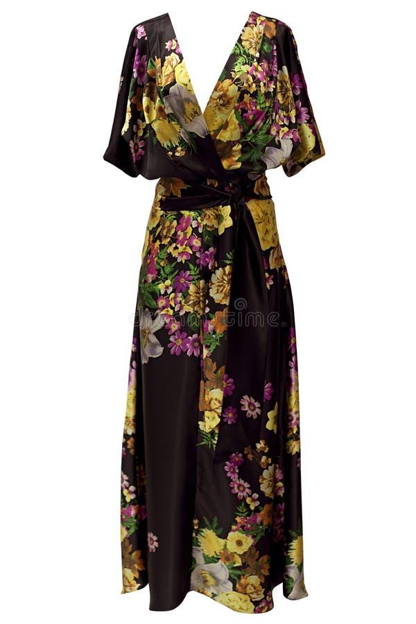 Mönstrad siden- klänning arkivfoton