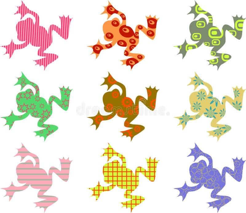mönstrade grodor vektor illustrationer