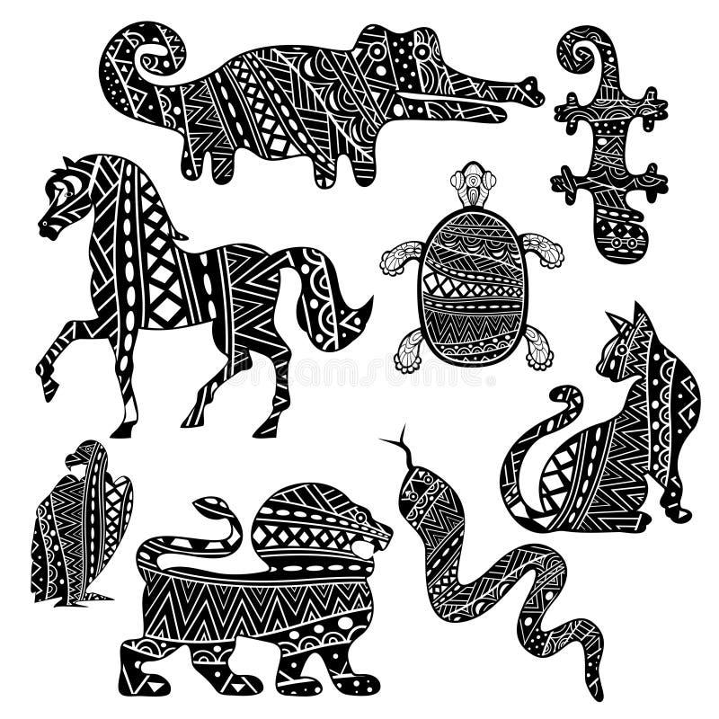 Mönstrade kontrastdjur och reptilar stock illustrationer