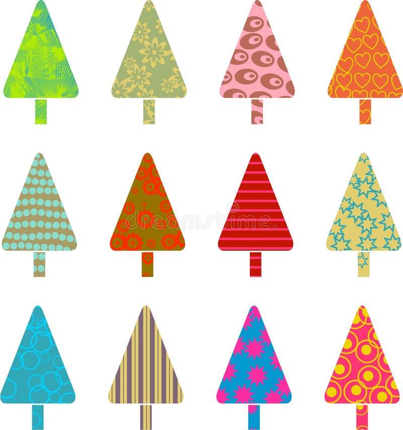 mönstrade trees royaltyfri illustrationer