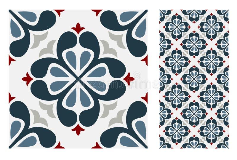 Mönstrar den antika portugisiska sömlösa designen för tappning tegelplattor i vektorillustration vektor illustrationer