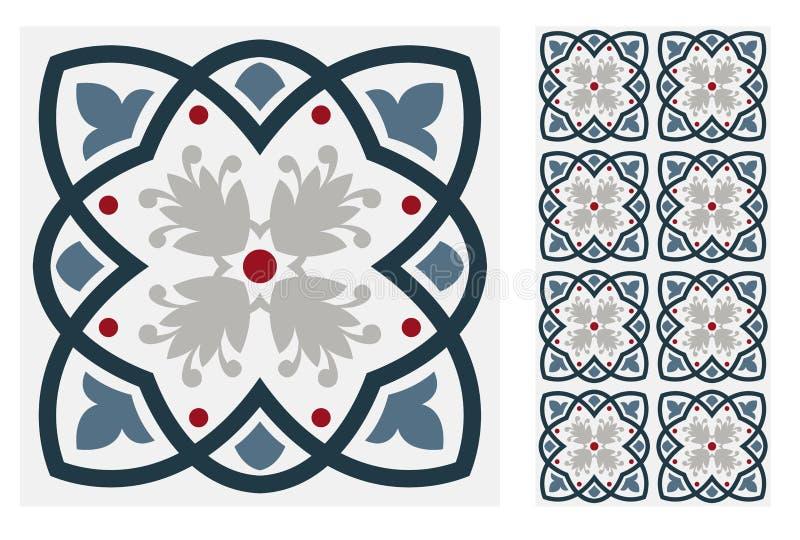 Mönstrar den antika portugisiska sömlösa designen för tappning tegelplattor i vektorillustration stock illustrationer