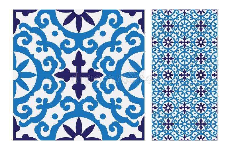 Mönstrar den antika sömlösa designen för tappning tegelplattor i vektorillustration royaltyfri illustrationer