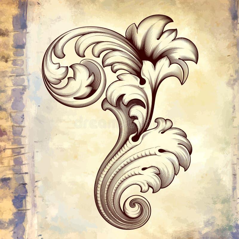 Mönstrar den barocka blom- snirkeln för vektortappning stock illustrationer