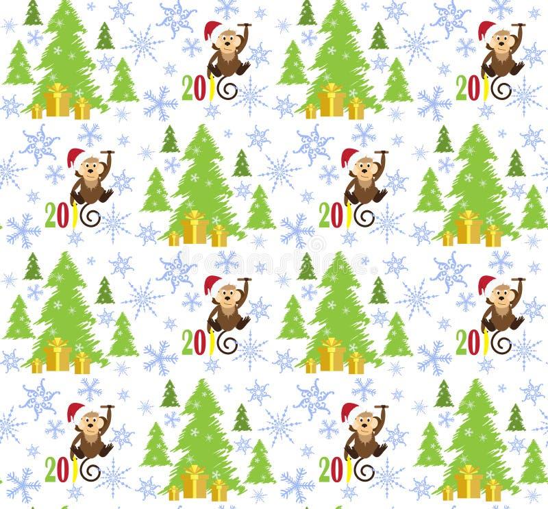 Mönstrar den lyckliga apan 2016, julgranen och massor av snöflinga royaltyfri illustrationer