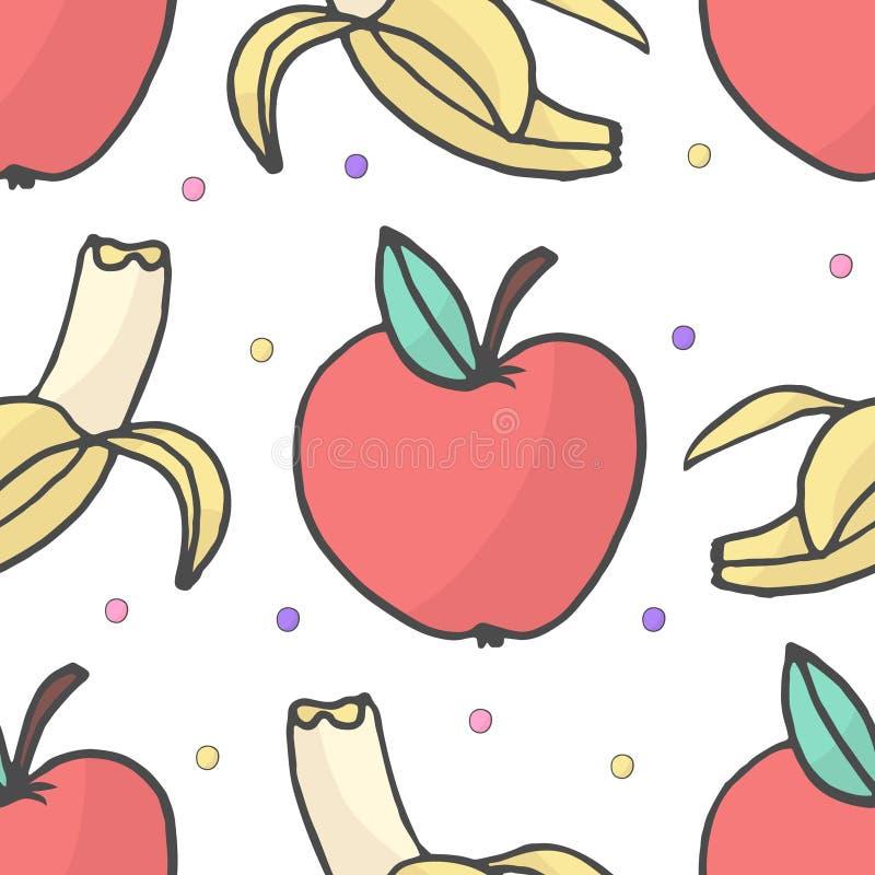 Mönstrar den sömlösa vektorn för bananen och för äpplet bakgrundsillustrationen vektor illustrationer