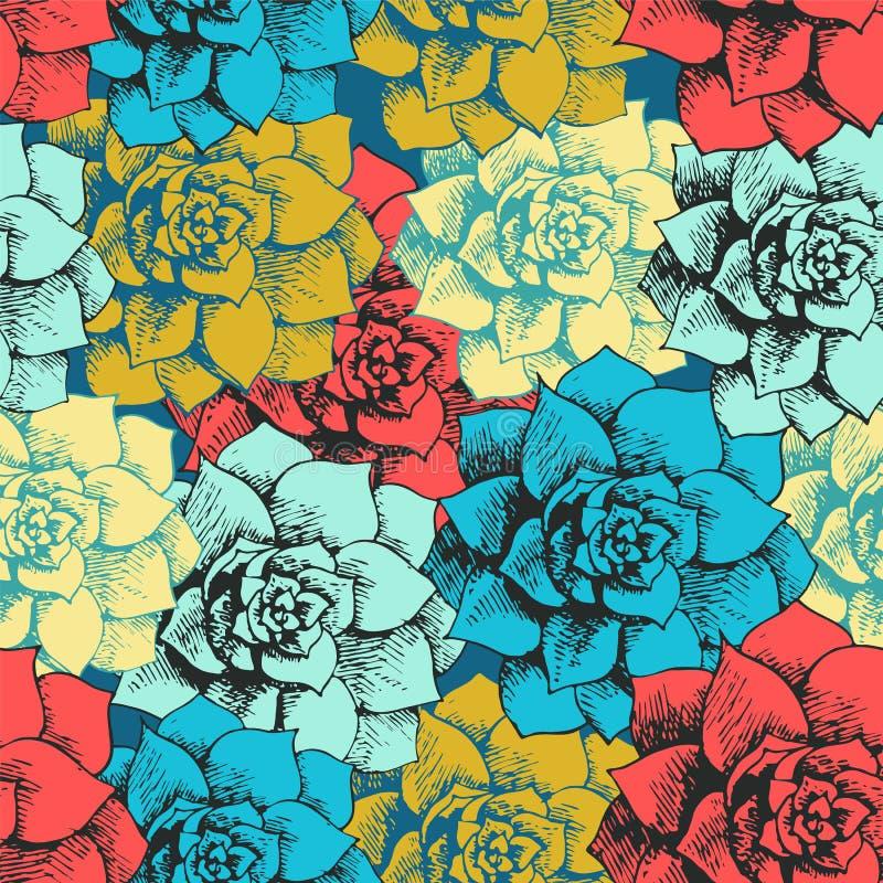 Mönstrar den seamless blomman för tappning royaltyfri illustrationer