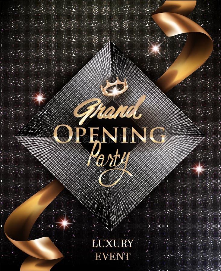 Mönstrar eleganta inbjudankort för storslagen öppning med det guld- bandet och cirkeln bakgrund royaltyfri illustrationer