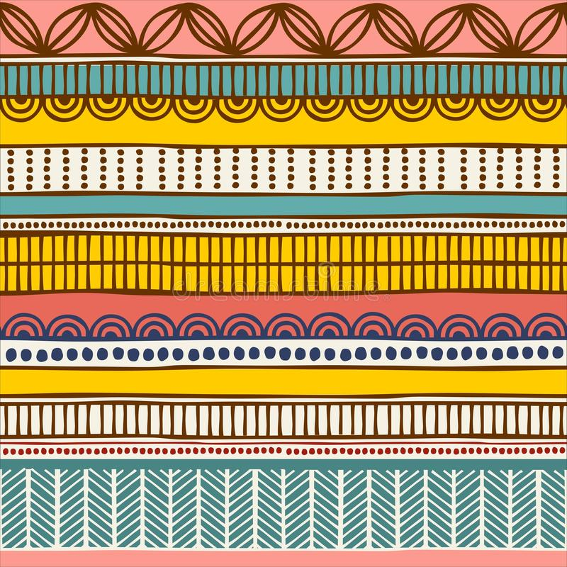 Mönstrar etniska seamless för vektor Hand dragen stam- randig prydnad Designbegrepp för modetrycket, bakgrunder royaltyfri illustrationer