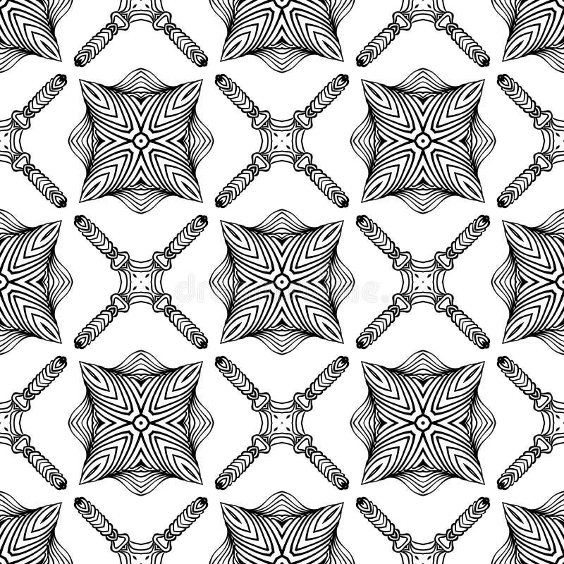 Den svartvita linjära art déco mönstrar royaltyfri illustrationer