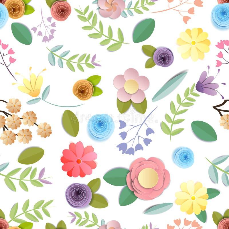 Mönstrar pappers- blommor för hantverk den sömlösa festliga blom- buketten för bakgrund, för våren, för hösten, för bröllop och f stock illustrationer