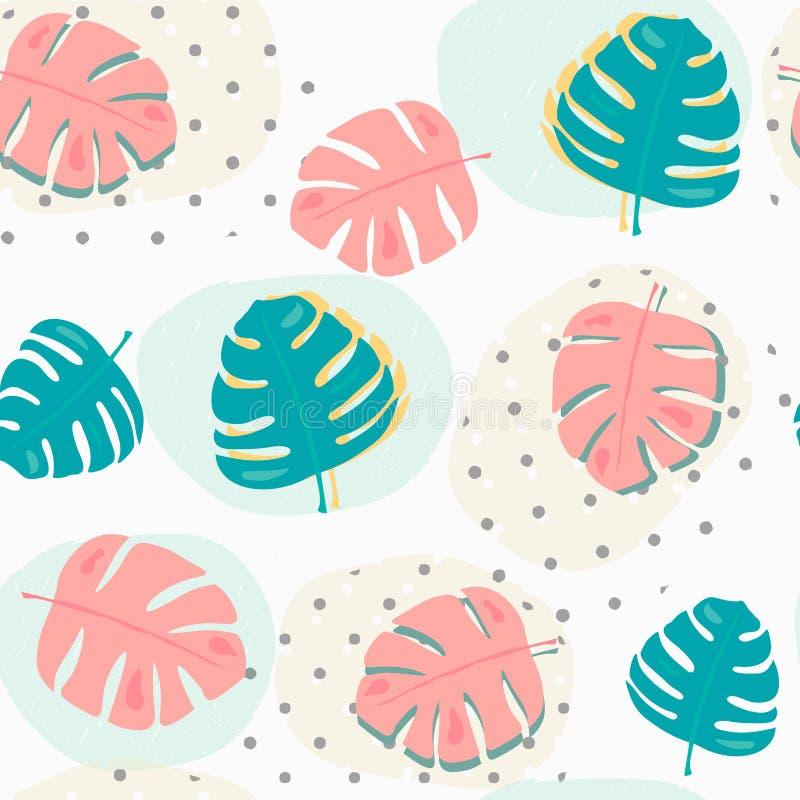 Mönstrar pastellfärgade tropiska sommarblad för klotter sömlös bakgrund royaltyfri illustrationer