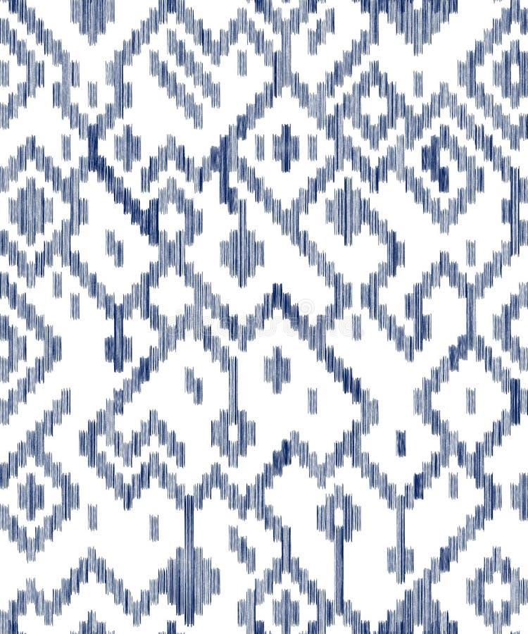 Mönstrar sliten abstrakt geometrisk ikat för person som tillhör en etnisk minoritet ut i blått och vit, vektor vektor illustrationer