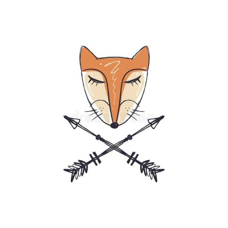 Mönstrat huvud av räven, djur framsida på vit bakgrund Afrikansk eller indisk totem, bohostil, prålig tatueringdesign vektor illustrationer