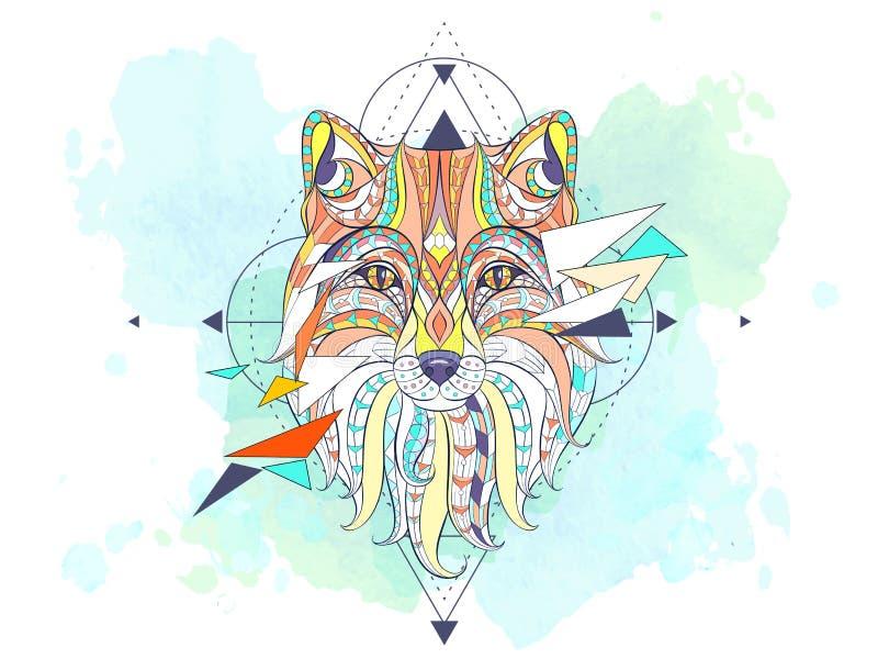 Mönstrat huvud av räven med geometri stock illustrationer