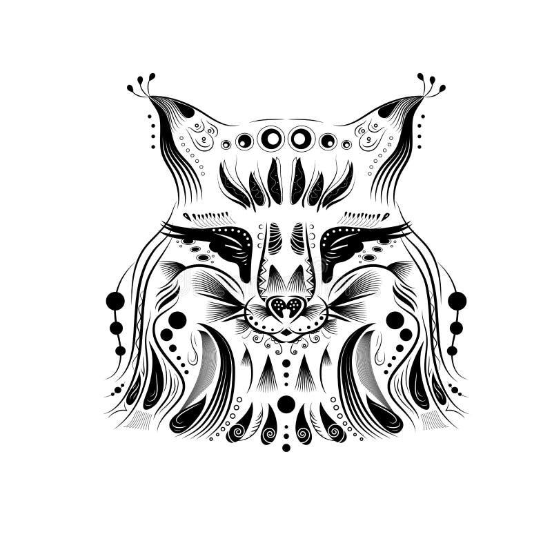 Mönstrat huvud av räven på wightbakgrunden vektor illustrationer