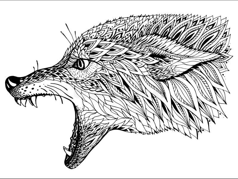 Mönstrat huvud av vargen Stam- etnisk totem, tatueringdesign royaltyfri illustrationer