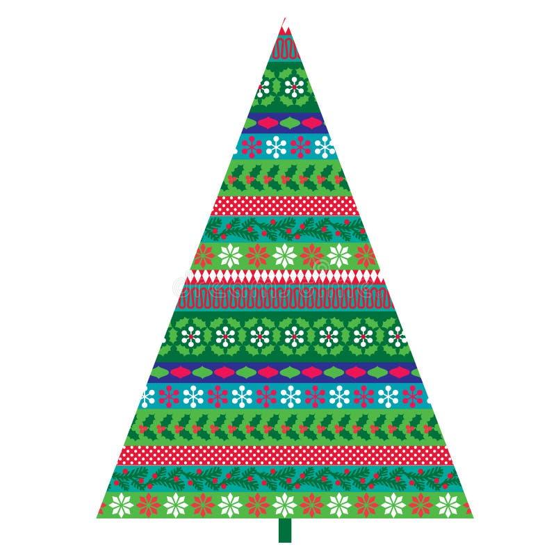 Mönstrat julträd stock illustrationer