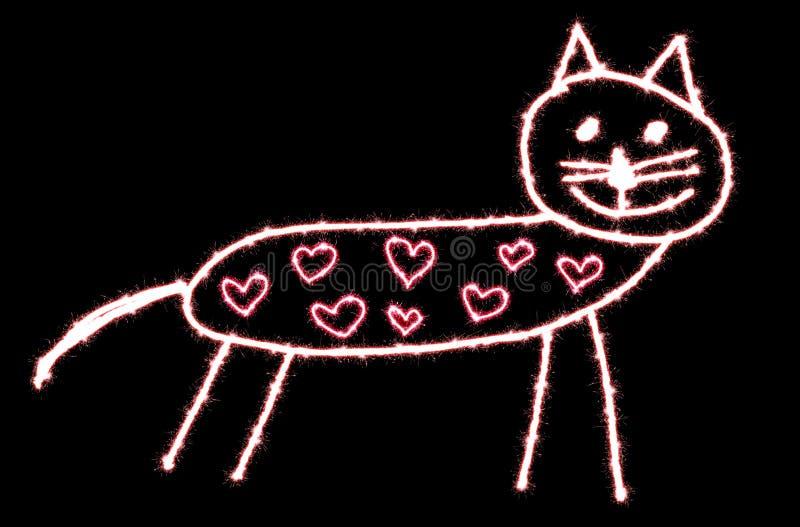 Mönstrat katttomtebloss för hjärta ı älskar dig vektor illustrationer