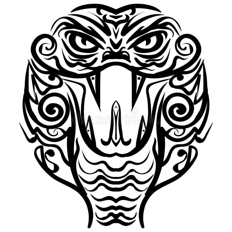 Mönstrat kulört huvud av konungen Cobra royaltyfri illustrationer