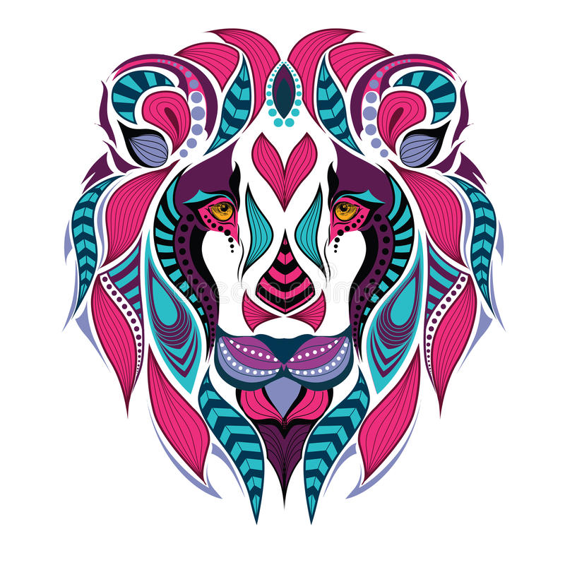 Mönstrat kulört huvud av lejonet Afrikan-/indier-/totem-/tatueringdesign royaltyfri illustrationer