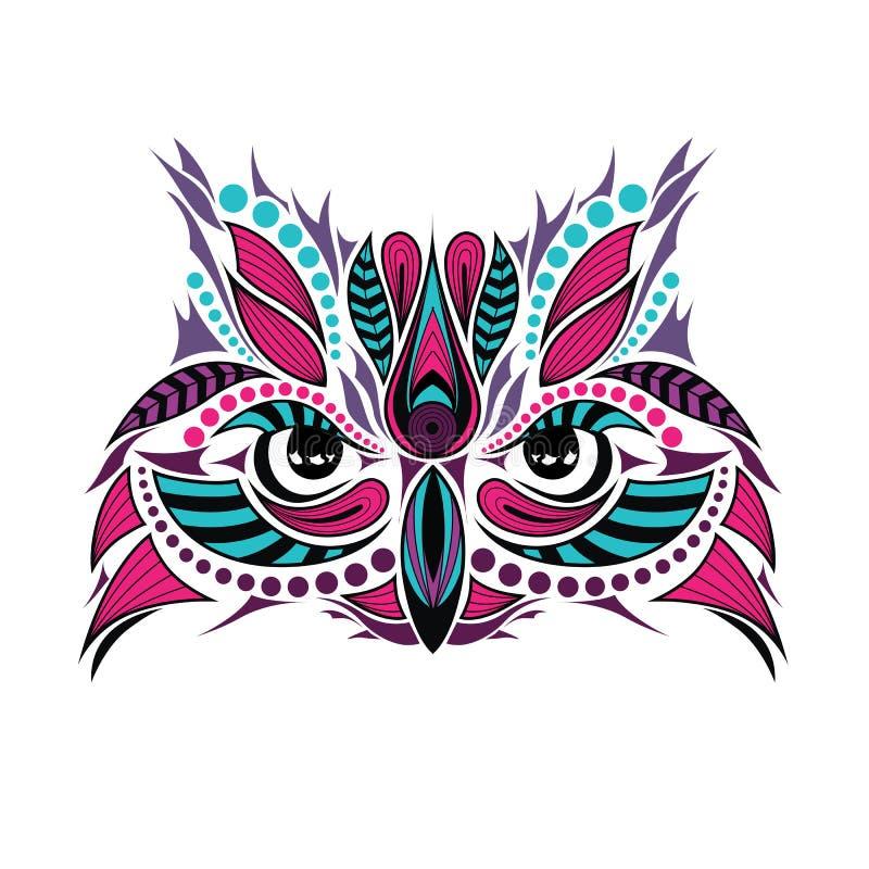 Mönstrat kulört huvud av ugglan Afrikan-/indier-/totem-/tatueringdesign stock illustrationer