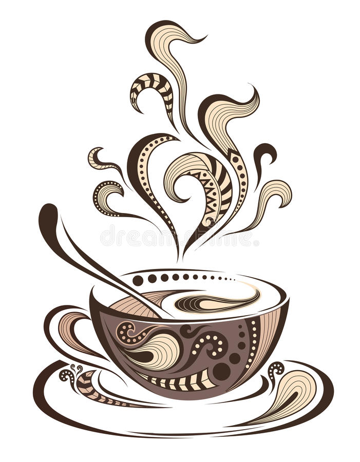 Mönstrat kulört lock av kaffe Batik-/afrikan-/indier-/totem-/tatueringdesign vektor illustrationer