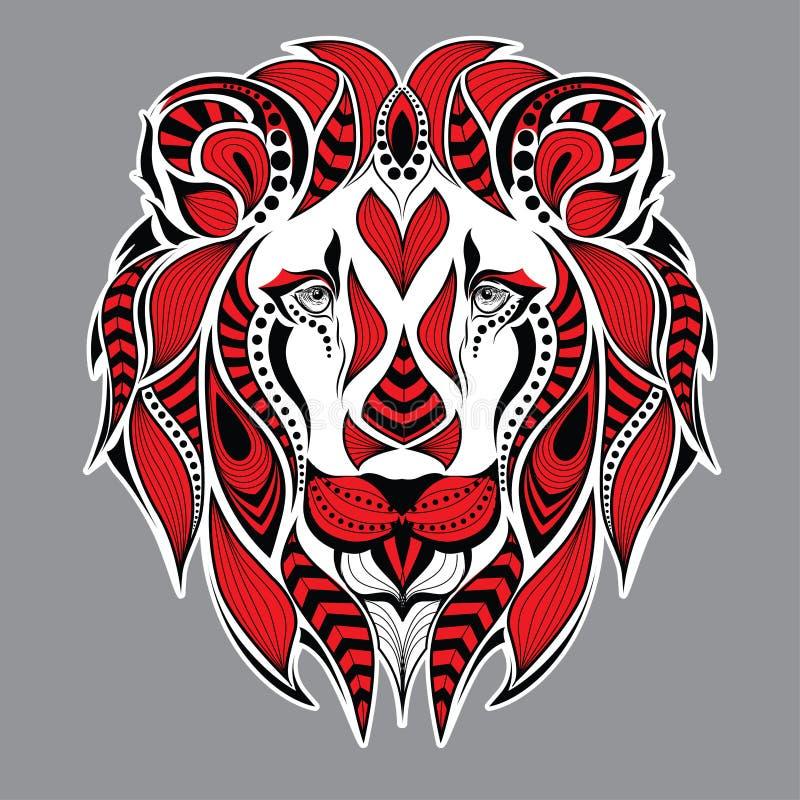 Mönstrat rött huvud av lejonet på den gråa bakgrunden Afrikan-/indier-/totem-/tatueringdesign Det kan användas för design av en t royaltyfri illustrationer