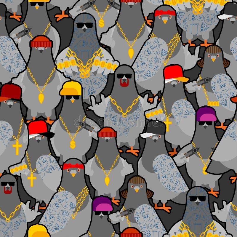 Mönstret för Gängelset i Pigeon sömlöst CoolCity-fågelbakgrund SWAG gangsta ornament Pigeon-snack vektorstruktur royaltyfri illustrationer