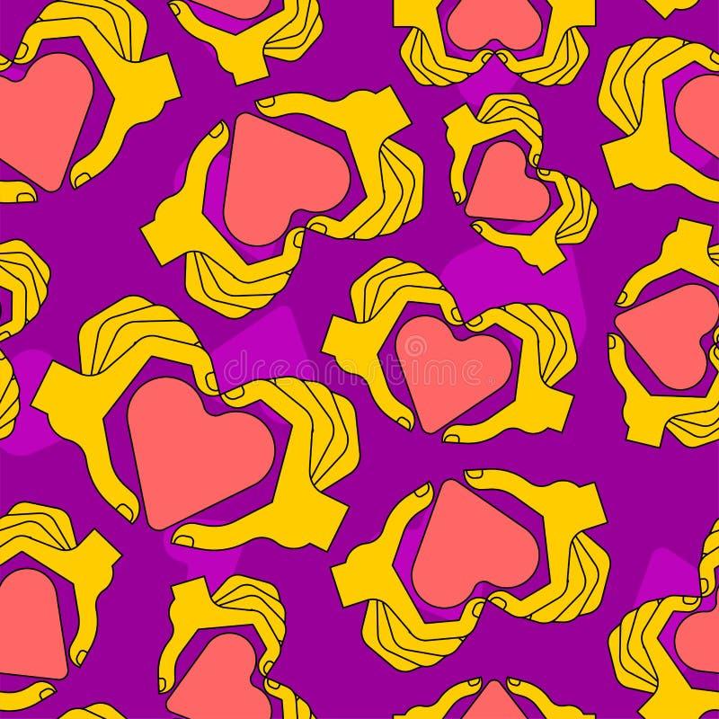 Mönstret för symbol med fingrar är sömlöst Hjärta tillverkad av fingerbakgrund stock illustrationer