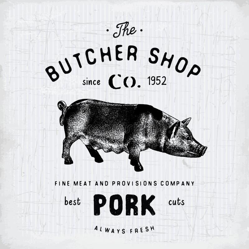 Mörda urskillningslöst köttprodukter för griskött för det Shop tappningemblemet, retro stil för slaktlogomall Tappningdesign för  stock illustrationer