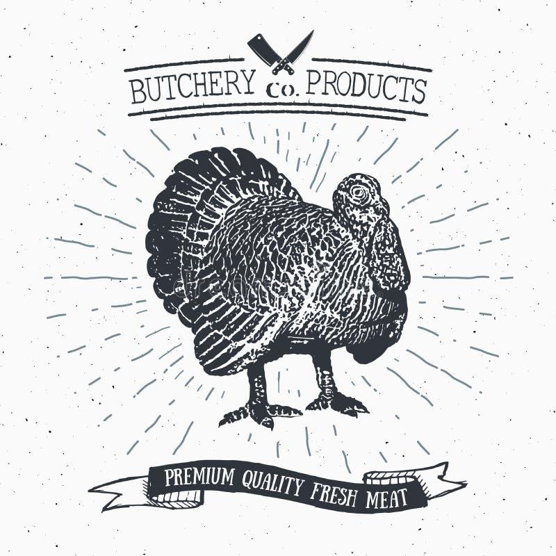 Mörda urskillningslöst köttprodukter för kalkon för det Shop tappningemblemet, retro stil för slaktlogomall Tappningdesignen för  vektor illustrationer