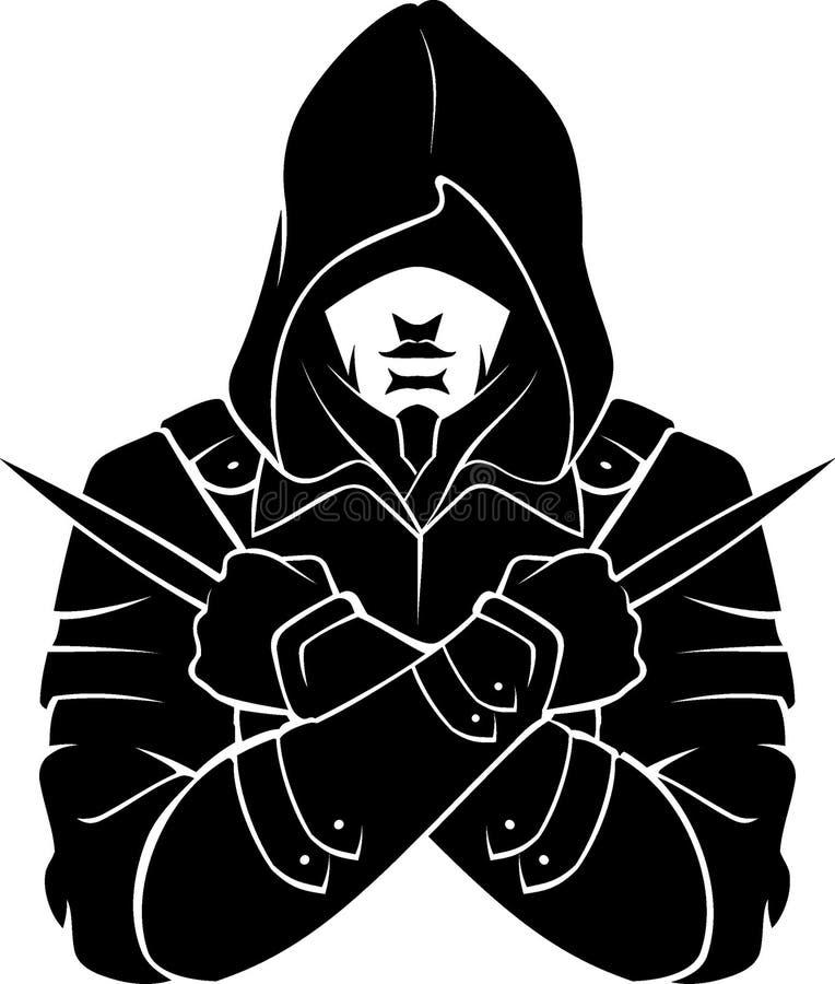 Mördare Fictional Character Silhouette stock illustrationer