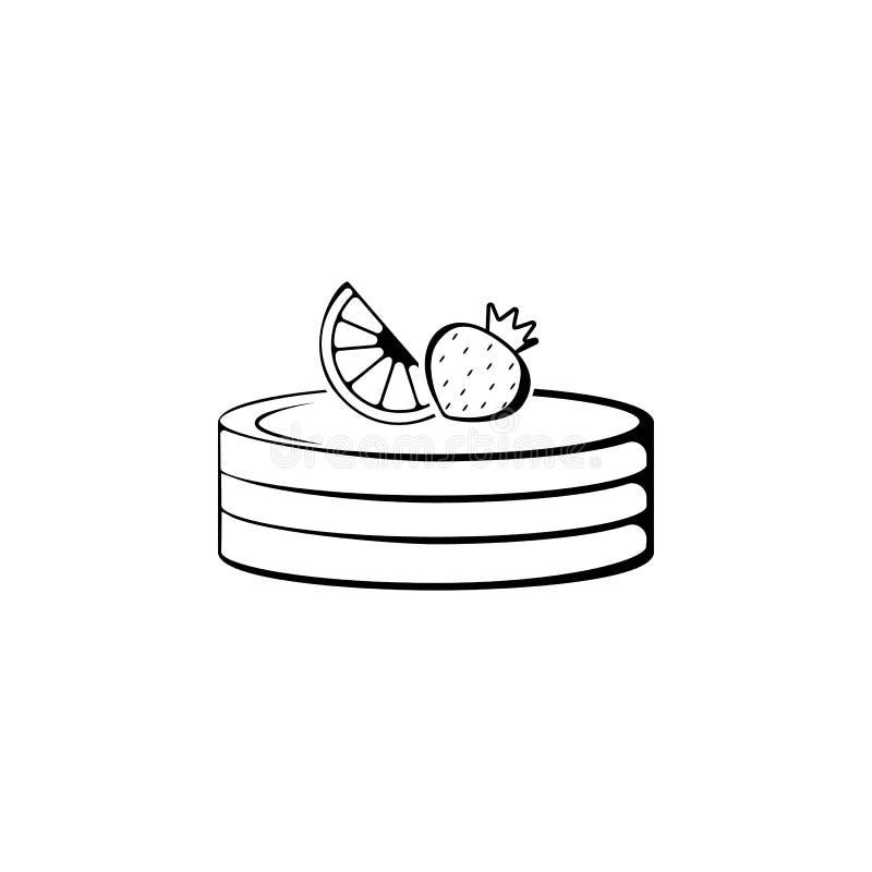 mördegstårta med jordgubbar och citronsymbolen Beståndsdel av bagerisymbolen Högvärdig kvalitets- grafisk design Tecken och symbo royaltyfri illustrationer