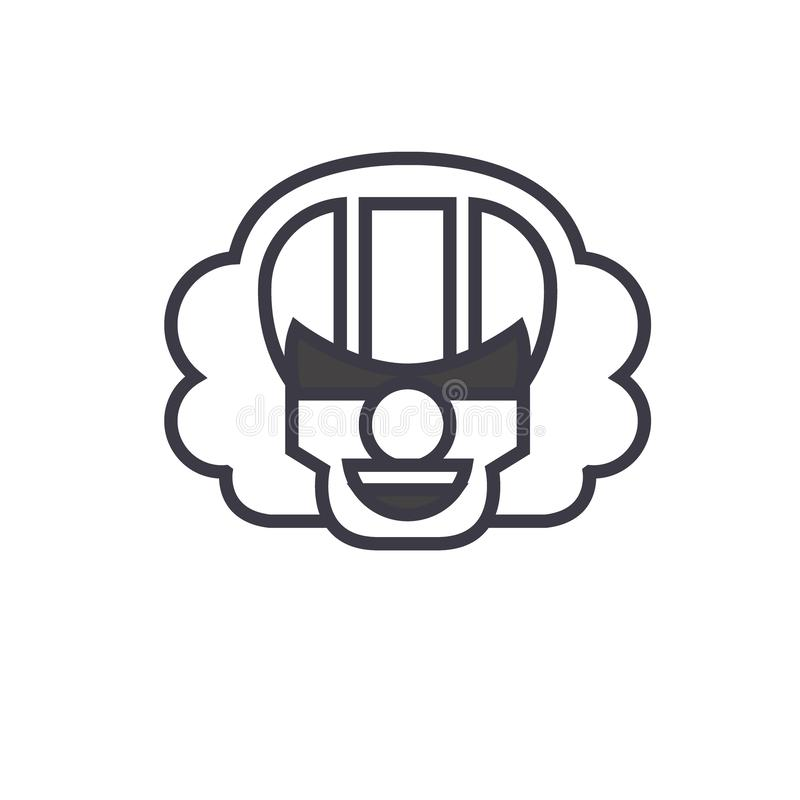 Mörder-Clown-Emoji-Konzeptlinie editable Vektor, Konzeptikone Lineare Gefühlillustration Mörder-Clown-Emoji-Konzeptes lizenzfreie abbildung