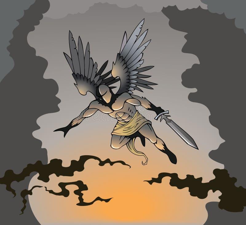 Mörk ängel vektor illustrationer