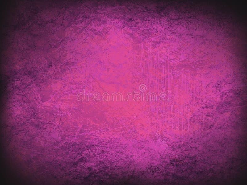 Mörk abstrakt bakgrund för lilor och för rosa färger Tappningtextur med mörka hörn vektor illustrationer