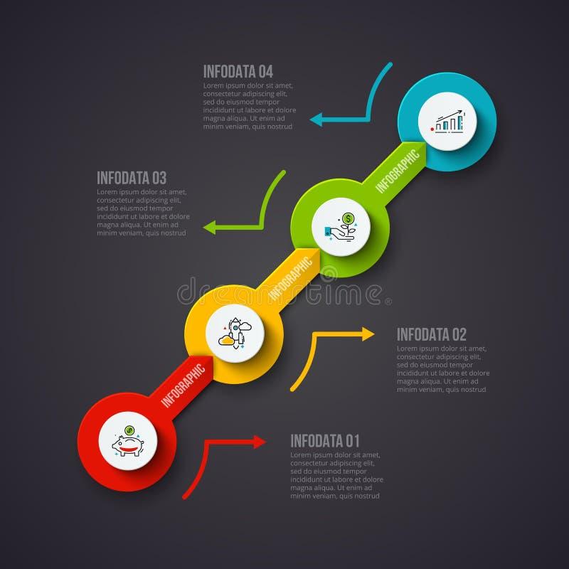 Mörk abstrakt mall för infographicsnummeralternativ också vektor för coreldrawillustration Kan användas för workfloworientering,  stock illustrationer
