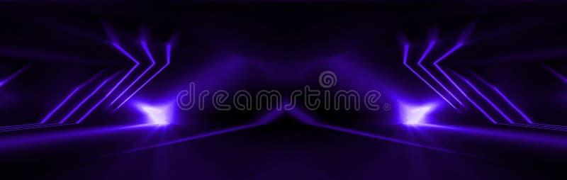 Mörk abstrakt purpurfärgad bakgrund Neonljus, strålar, ultramarine i mörkret stock illustrationer