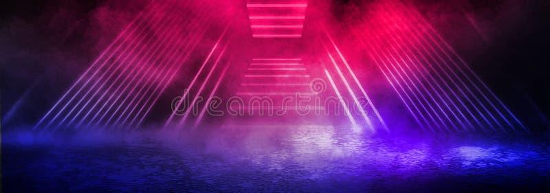 Mörk bakgrund av det strålkastare, blå och röd neonet för gata, för tjock dimma, arkivbild
