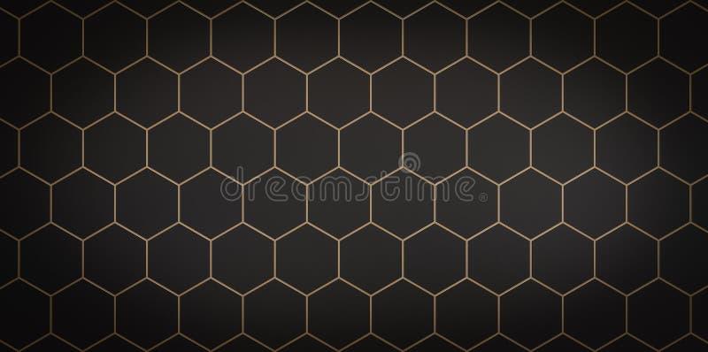 Mörk bakgrund av svarta celler med den guld- slaglängden - illustration 3D stock illustrationer