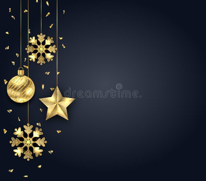 Mörk bakgrund för jul med guld- struntsaker som hälsar banret royaltyfri illustrationer