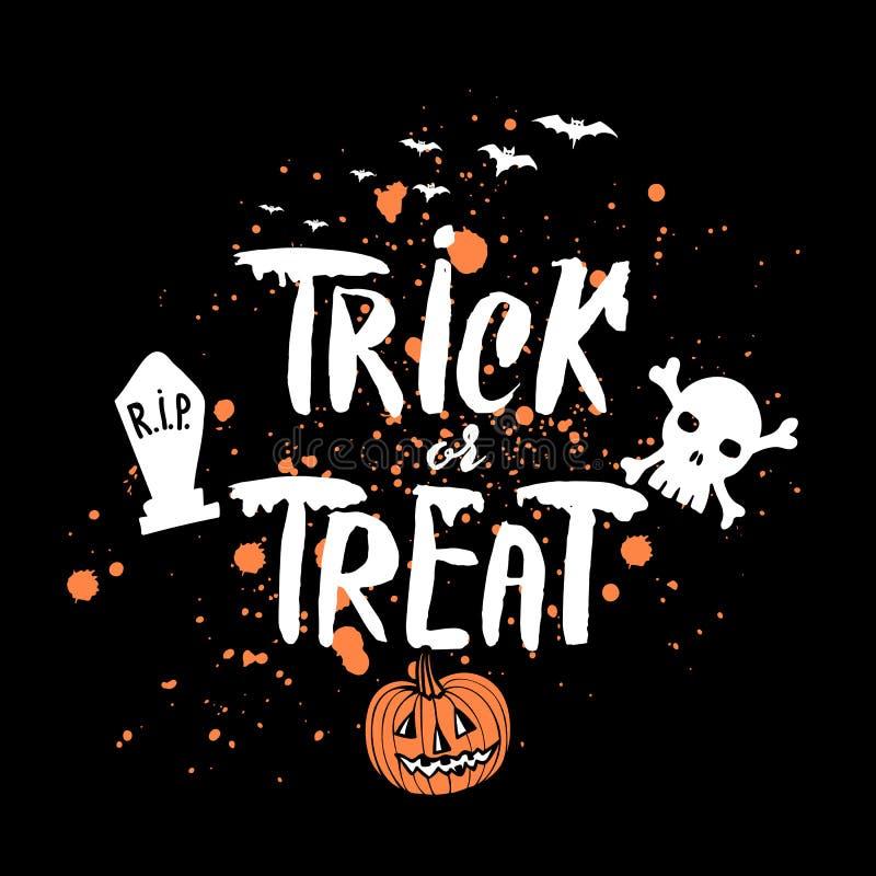 Mörk bakgrund för vektorallhelgonaafton med orange pumpa- och blodfläckar, dragen vit grungy hand märka trick eller fest stock illustrationer