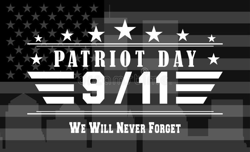 Mörk bakgrund för vektorpatriotdagen med 9 11 glömmer vi aldrig bokstäver Mall för nationell dag av service och stock illustrationer