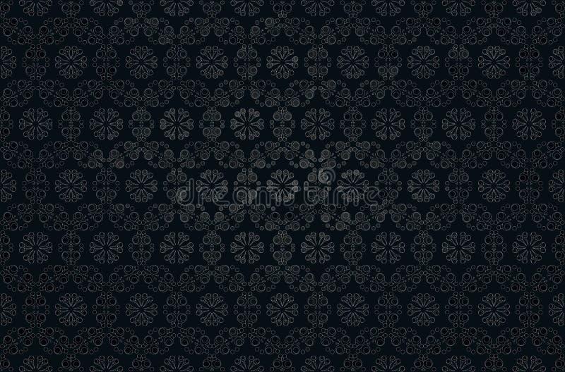 Mörk bakgrund med en grå växtprydnad på en svart bakgrund royaltyfri illustrationer