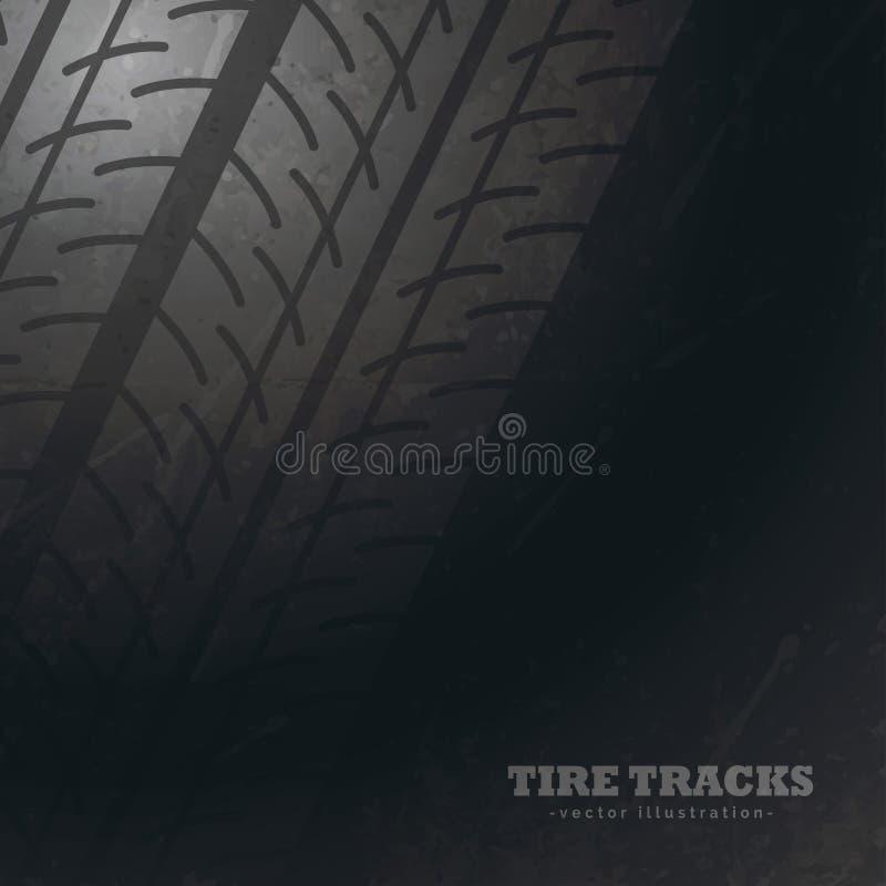 Mörk bakgrund med gummihjulspårfläckar stock illustrationer