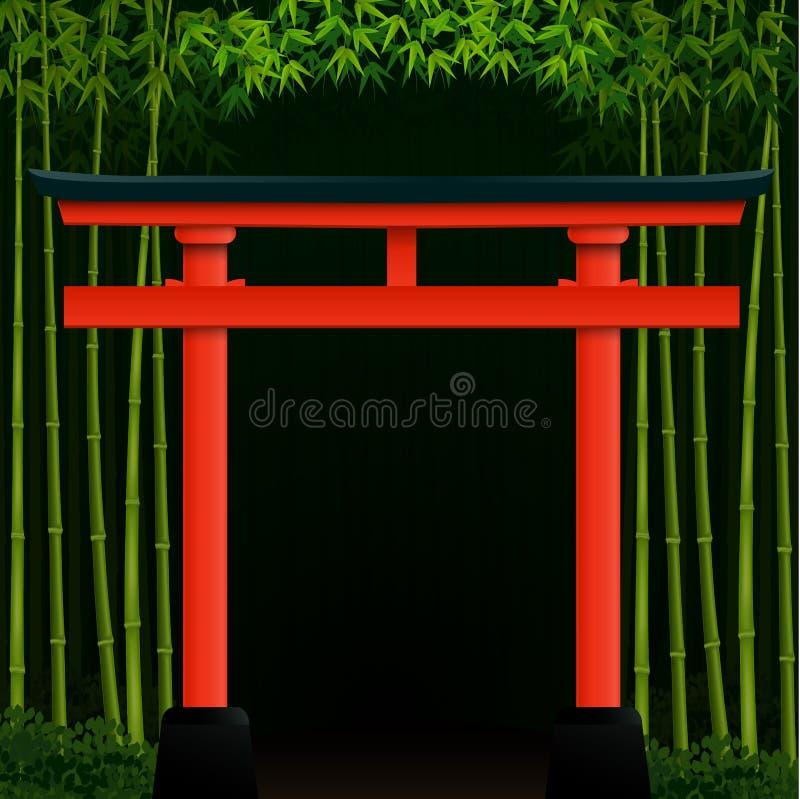Mörk bambuskogbakgrund med den röda japanska porten royaltyfri illustrationer
