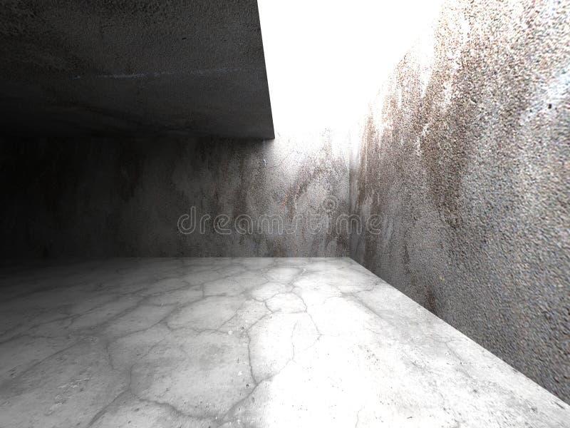 Download Mörk Betongväggruminre Med Takljus Stock Illustrationer - Illustration av grått, tillfälle: 78730931