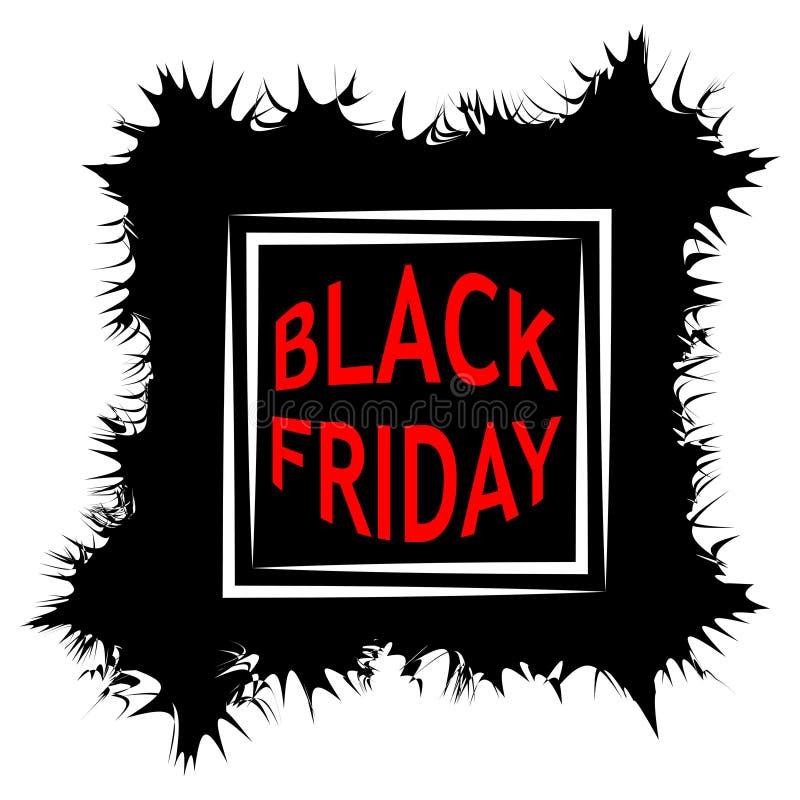 Mörk Black Friday Sale affischförsäljning sprickor för vektorramform klottrar klottret, bubbla för anförande för stil för popkons stock illustrationer