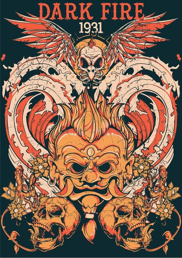Mörk brand royaltyfri illustrationer